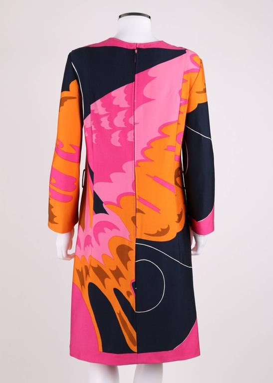 HENAE MORI 1970s Pink Orange Multicolor Abstract Print Long Sleeve Shift Dress 5