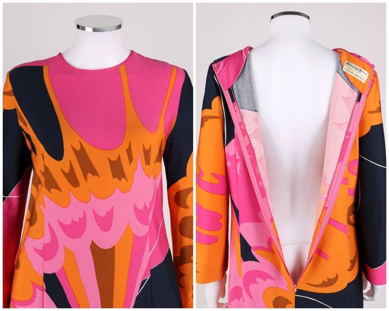 HENAE MORI 1970s Pink Orange Multicolor Abstract Print Long Sleeve Shift Dress For Sale 2