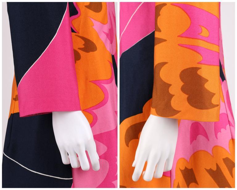 HENAE MORI 1970s Pink Orange Multicolor Abstract Print Long Sleeve Shift Dress For Sale 3
