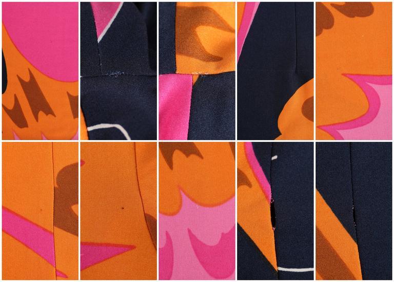 HENAE MORI 1970s Pink Orange Multicolor Abstract Print Long Sleeve Shift Dress For Sale 5