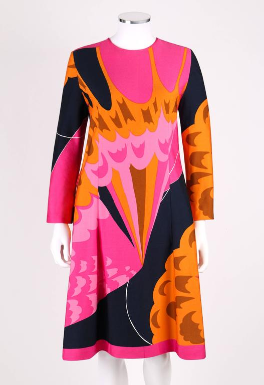 Red HENAE MORI 1970s Pink Orange Multicolor Abstract Print Long Sleeve Shift Dress For Sale
