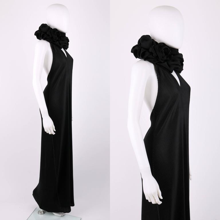 ISSEY MIYAKE Black Halter Full Length Evening Dress Streamer Wrap Scarf Size 3 4