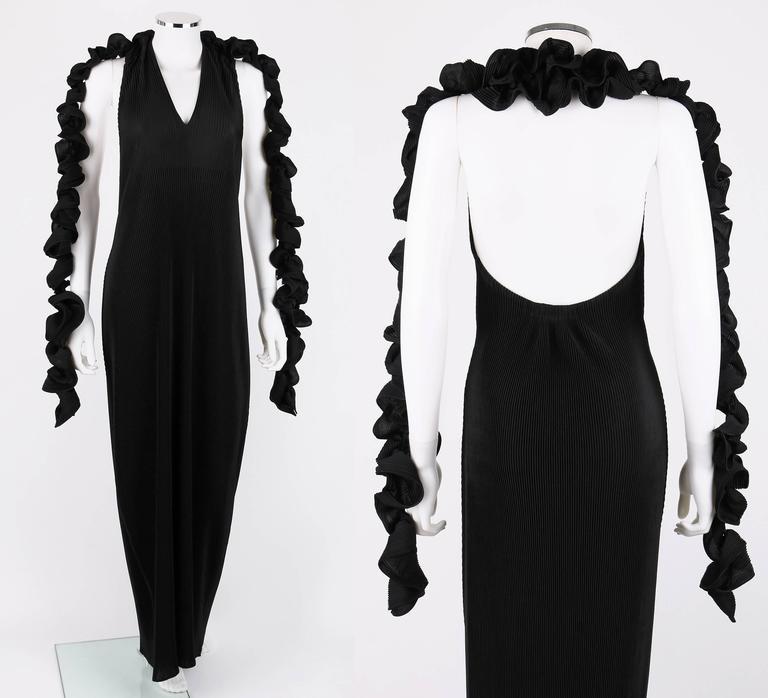 ISSEY MIYAKE Black Halter Full Length Evening Dress Streamer Wrap Scarf Size 3 2