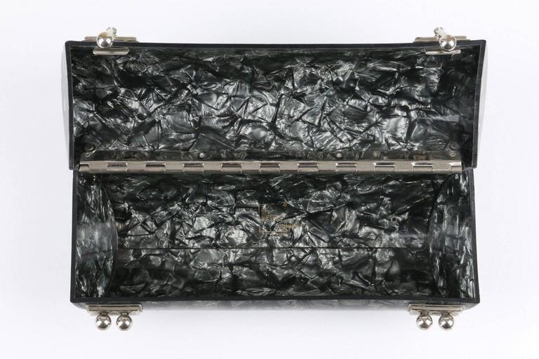 "MYLES OF MIAMI 1953 ""Shooner"" Gunmetal Gray Lucite Lamoplex Cylinder Box Purse 5"