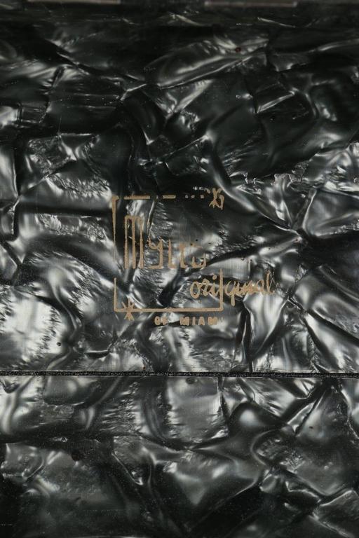 "MYLES OF MIAMI 1953 ""Shooner"" Gunmetal Gray Lucite Lamoplex Cylinder Box Purse 6"