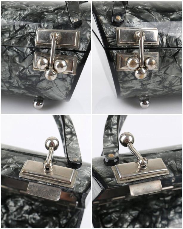 "MYLES OF MIAMI 1953 ""Shooner"" Gunmetal Gray Lucite Lamoplex Cylinder Box Purse 10"