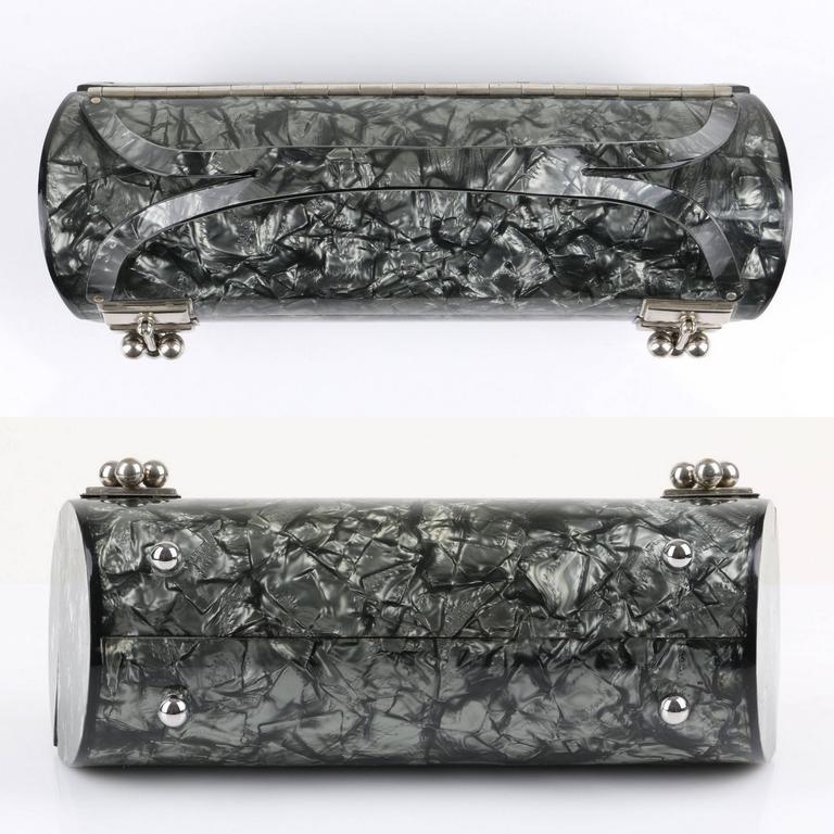 "MYLES OF MIAMI 1953 ""Shooner"" Gunmetal Gray Lucite Lamoplex Cylinder Box Purse 9"