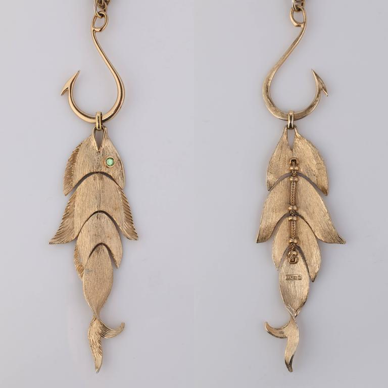 Napier huge gold articulated fish w hook pendant for Gold fish hook pendant