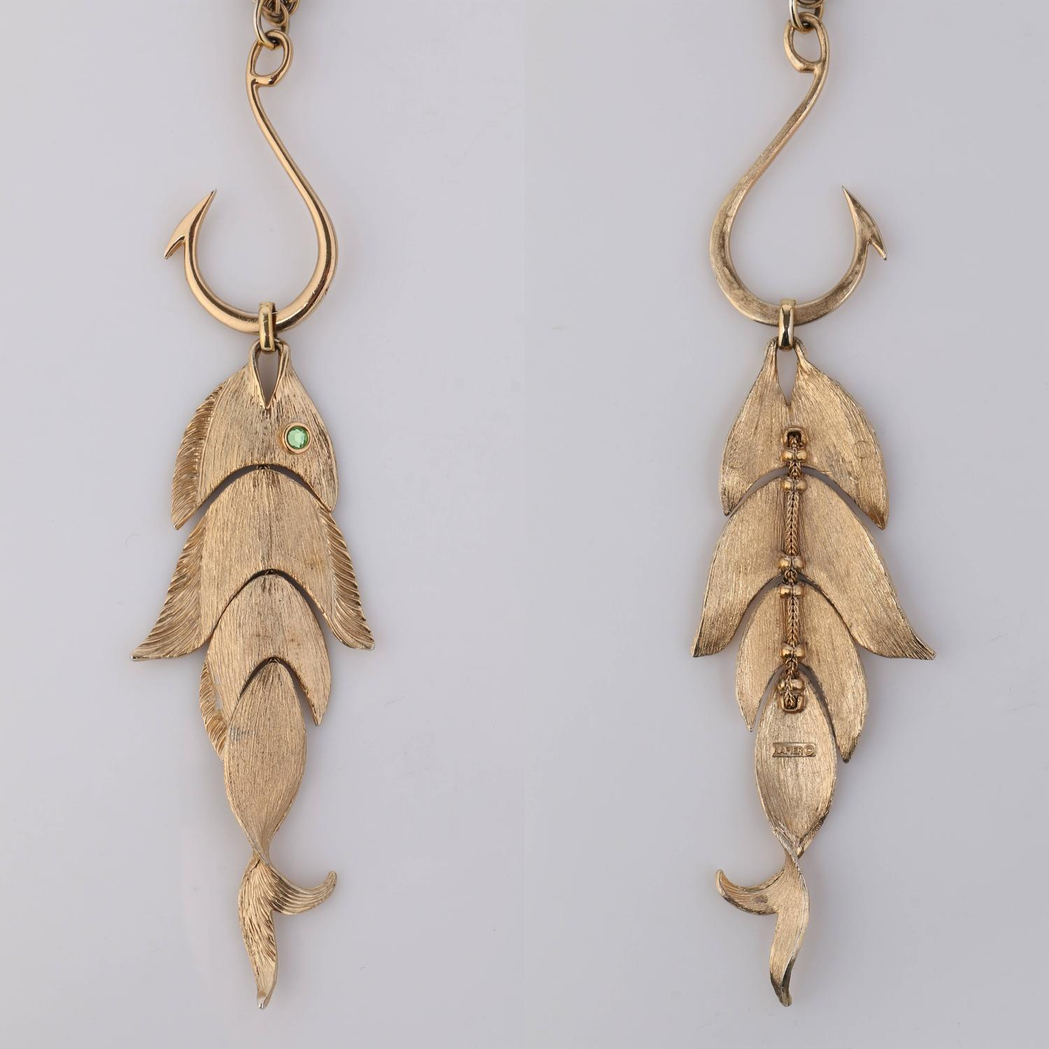 Napier huge gold articulated fish w hook pendant for Gold fish pendant