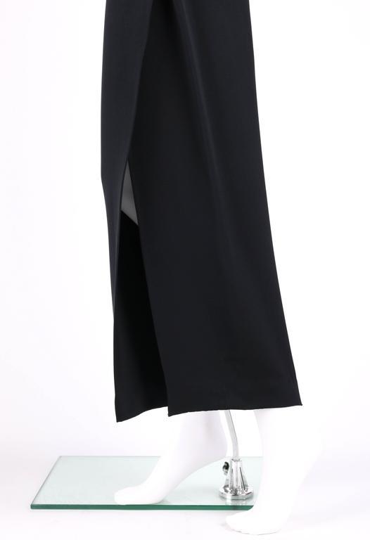 GIANNI VERSACE c.1990's Black Silk Drape Front Open Slit Leg Pants Size 38 For Sale 2