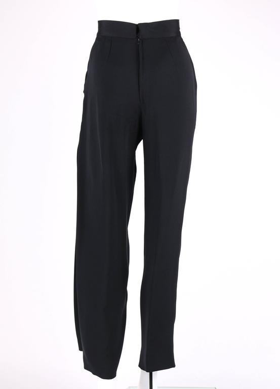 Women's GIANNI VERSACE c.1990's Black Silk Drape Front Open Slit Leg Pants Size 38 For Sale