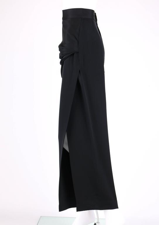 GIANNI VERSACE c.1990's Black Silk Drape Front Open Slit Leg Pants Size 38 For Sale 1