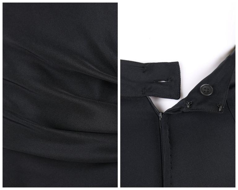 GIANNI VERSACE c.1990's Black Silk Drape Front Open Slit Leg Pants Size 38 For Sale 3