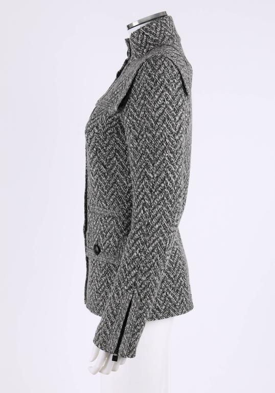 Women's CHANEL A/W 2008 Collection Black White Wool Tweed Herringbone Dual Flap Jacket For Sale