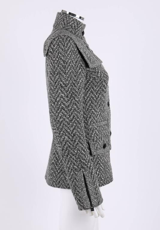 Gray CHANEL A/W 2008 Collection Black White Wool Tweed Herringbone Dual Flap Jacket For Sale
