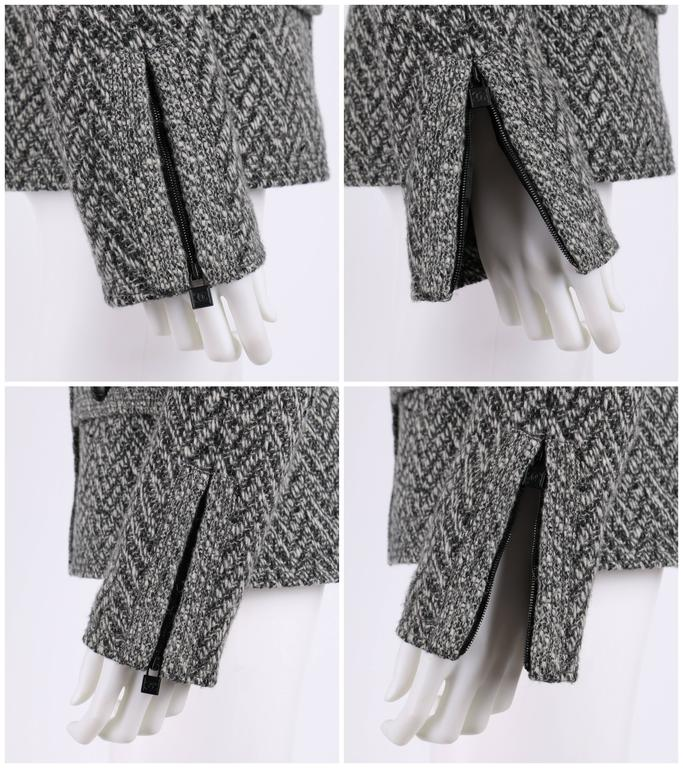 CHANEL A/W 2008 Collection Black White Wool Tweed Herringbone Dual Flap Jacket For Sale 2