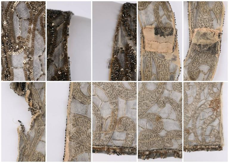Couture c.1920's Gold Sequin Beaded Net Plunging Flapper Art Deco Evening Dress 9