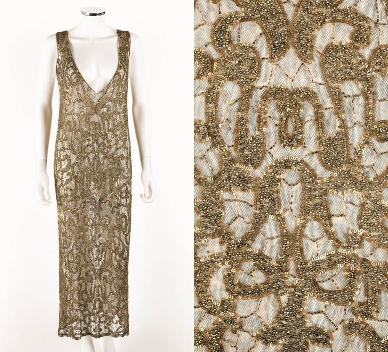 Couture c.1920's Gold Sequin Beaded Net Plunging Flapper Art Deco Evening Dress 2