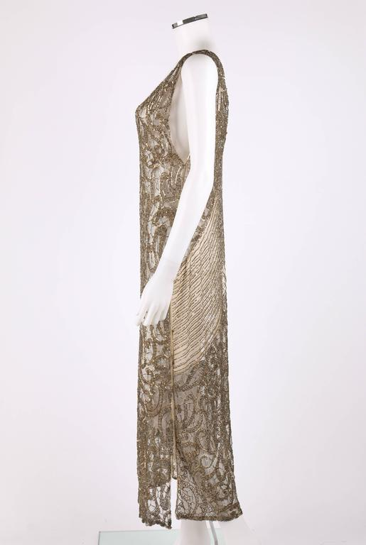 Couture c.1920's Gold Sequin Beaded Net Plunging Flapper Art Deco Evening Dress 5