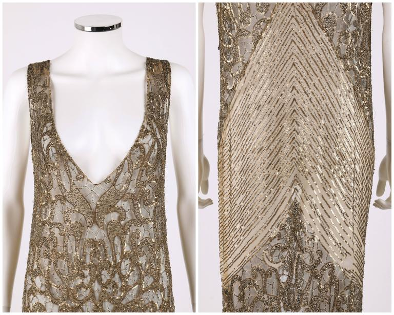 Couture c.1920's Gold Sequin Beaded Net Plunging Flapper Art Deco Evening Dress 6