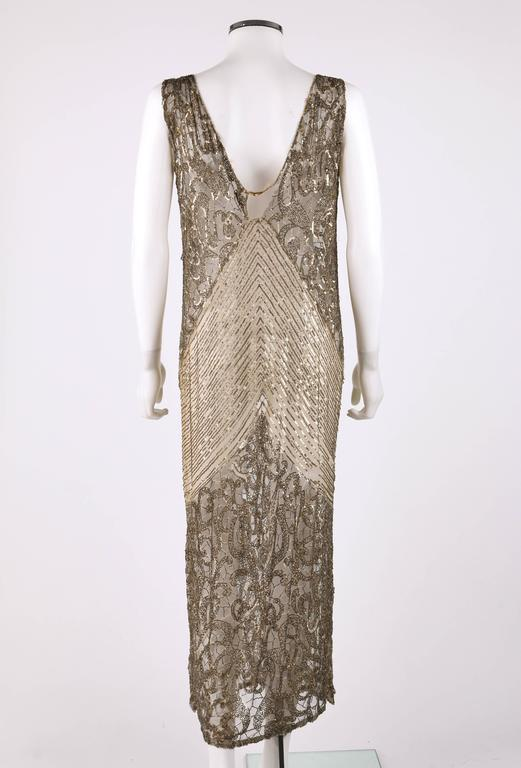 Couture c.1920's Gold Sequin Beaded Net Plunging Flapper Art Deco Evening Dress 4