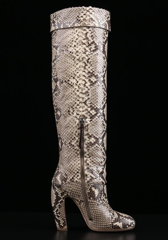"MIU MIU PRADA ""ROCCIA"" Genuine Python Snakeskin Knee High Heeled Boots Size 36 4"