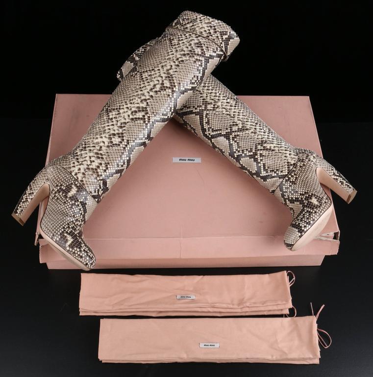 "MIU MIU PRADA ""ROCCIA"" Genuine Python Snakeskin Knee High Heeled Boots Size 36 10"