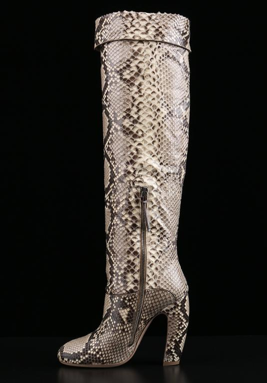 """MIU MIU by Prada """"Roccia"""" brown and ivory genuine python over the knee high heeled boots. Fold-over top can be unfolded for higher length. High snakeskin covered curved heel. Interior silver-tone zipper with brown leather zipper pull. Included"""