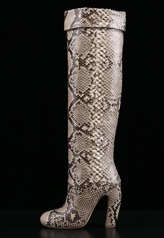 "Beige MIU MIU PRADA ""ROCCIA"" Genuine Python Snakeskin Knee High Heeled Boots Size 36 For Sale"