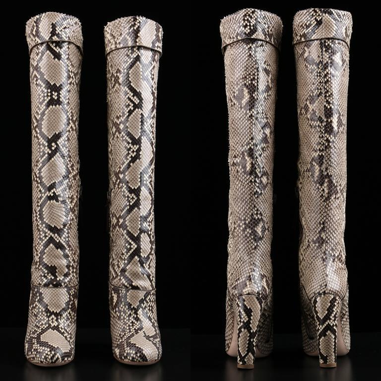 "MIU MIU PRADA ""ROCCIA"" Genuine Python Snakeskin Knee High Heeled Boots Size 36 For Sale 1"