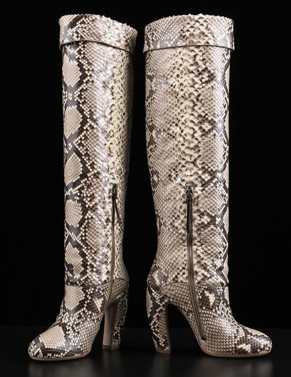 "Women's MIU MIU PRADA ""ROCCIA"" Genuine Python Snakeskin Knee High Heeled Boots Size 36 For Sale"