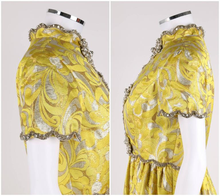 OSCAR de la RENTA c.1968 Yellow Lurex Brocade Silk Beaded Evening Gown Dress For Sale 3