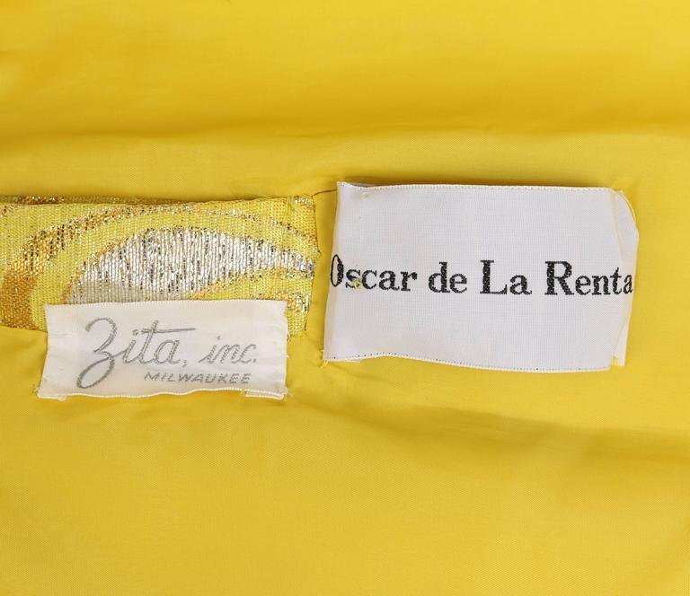 OSCAR de la RENTA c.1968 Yellow Lurex Brocade Silk Beaded Evening Gown Dress 9