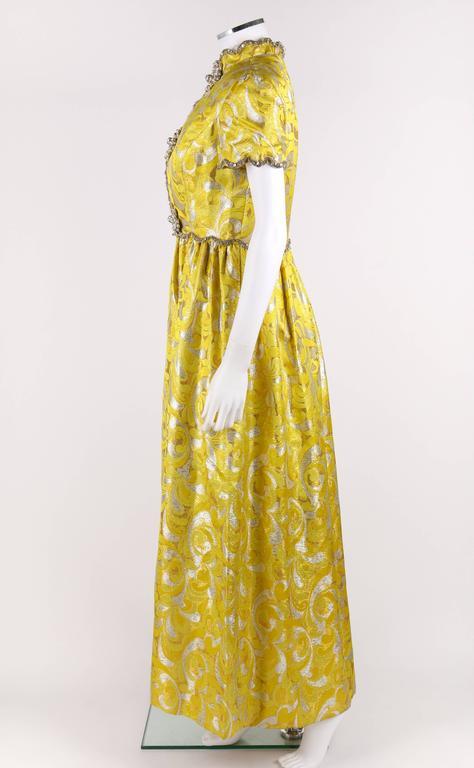 OSCAR de la RENTA c.1968 Yellow Lurex Brocade Silk Beaded Evening Gown Dress For Sale 1