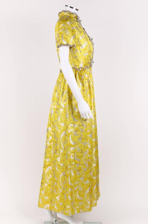 OSCAR de la RENTA c.1968 Yellow Lurex Brocade Silk Beaded Evening Gown Dress In Excellent Condition For Sale In Thiensville, WI
