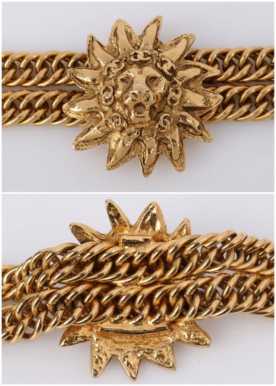 CHANEL 1980s CC Gold France Logo Lion Leo Sun Pendant Chunky Curb Chain Necklace For Sale 4