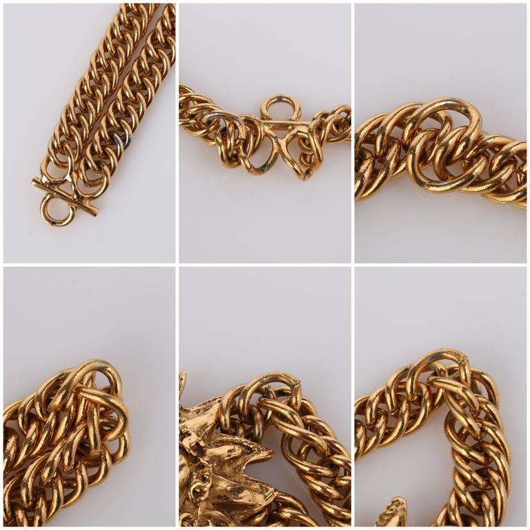 CHANEL 1980s CC Gold France Logo Lion Leo Sun Pendant Chunky Curb Chain Necklace For Sale 6