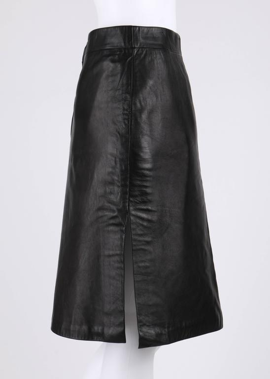 PIERRE CARDIN c.1970's Black Genuine Leather Deer Applique A-line Skirt Size 12 3