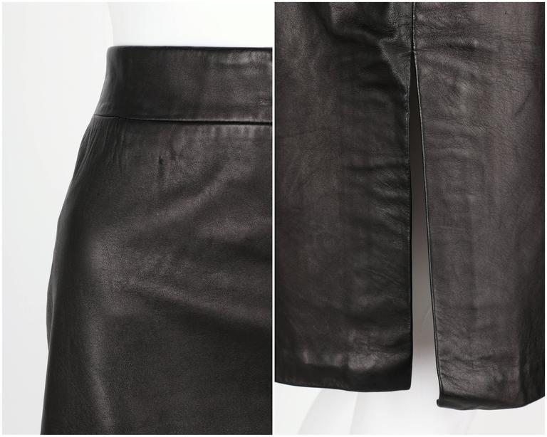 PIERRE CARDIN c.1970's Black Genuine Leather Deer Applique A-line Skirt Size 12 7