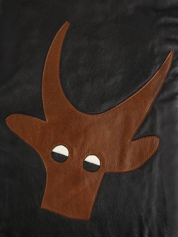 PIERRE CARDIN c.1970's Black Genuine Leather Deer Applique A-line Skirt Size 12 2