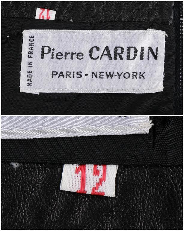 PIERRE CARDIN c.1970's Black Genuine Leather Deer Applique A-line Skirt Size 12 6