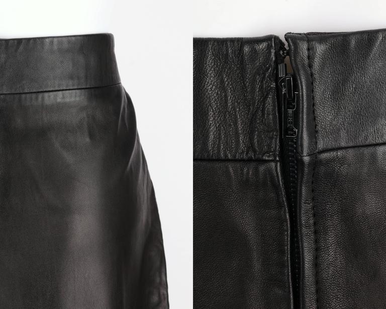PIERRE CARDIN c.1970's Black Genuine Leather Deer Applique A-line Skirt Size 12 8