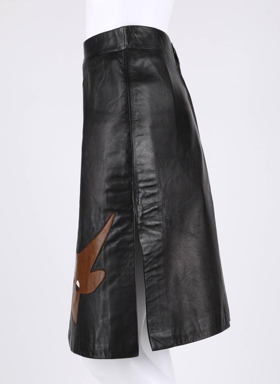 PIERRE CARDIN c.1970's Black Genuine Leather Deer Applique A-line Skirt Size 12 5