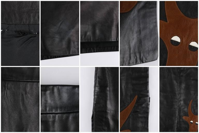 PIERRE CARDIN c.1970's Black Genuine Leather Deer Applique A-line Skirt Size 12 9