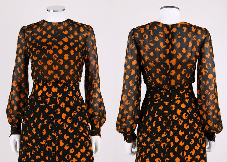Vintage Christian Dior Haute Couture designed by Marc Bohn Autumn/Winter 1972 black and orange stylized polka dot print blouse and skirt set. Round neckline blouse with nude attached camisole underneath. Bishop sleeve with snap and button closure at