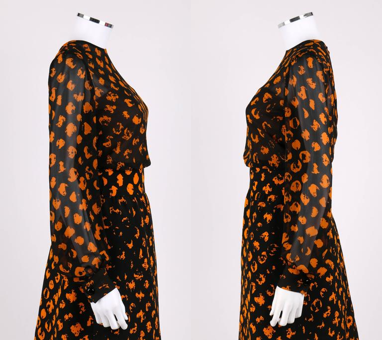 CHRISTIAN DIOR A/W 1972 Marc Bohan 2 Pc Black Orange Polkadot Blouse Skirt Set In Good Condition For Sale In Thiensville, WI