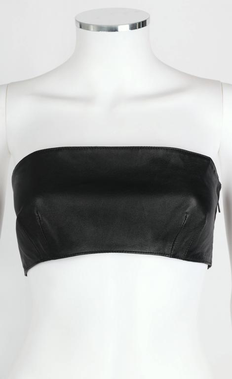 VERSUS GIANNI VERSACE c.1990 Yellow Black One Shoulder Dress Leather Bandeau Set For Sale 2