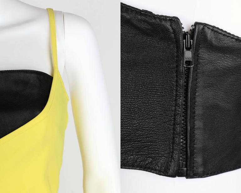 VERSUS GIANNI VERSACE c.1990 Yellow Black One Shoulder Dress Leather Bandeau Set For Sale 4