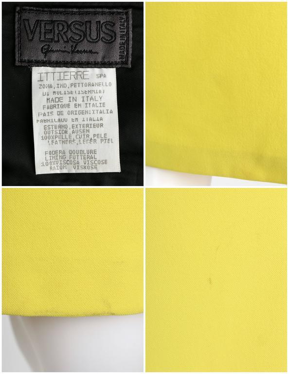VERSUS GIANNI VERSACE c.1990 Yellow Black One Shoulder Dress Leather Bandeau Set For Sale 5
