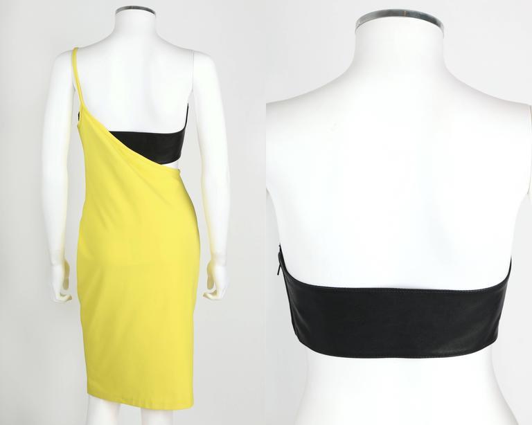 Women's VERSUS GIANNI VERSACE c.1990 Yellow Black One Shoulder Dress Leather Bandeau Set For Sale